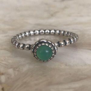 Sterling Silver Beaded Ring & Green Cabochon Stone